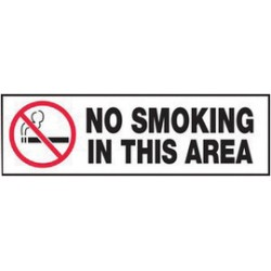 Accuform Signs - LSMK523XVE - Accuform Signs 3 X 10 White, Black And Red 6 mil Adhesive Dura-Vinyl Smoking Control Safety Label NO SMOKING IN THIS AREA (With Graphic), ( Each )