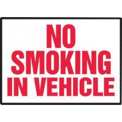 Accuform Signs - LSMK551VSP - Accuform Signs 3 1/2 X 5 Red And White 4 mil Adhesive Vinyl Smoking Control Safety Label NO SMOKING IN VEHICLE (5 Per Pack), ( Package )