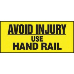 Accuform Signs - LSTF501XVE - Accuform Signs 3 X 7 Black And Yellow 6 mil Adhesive Dura-Vinyl Fall Protection Safety Label AVOID INJURY USE HAND RAIL, ( Each )