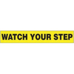 Accuform Signs - LSTF511VSP - Accuform Signs 2 X 12 Black And Yellow 4 mil Adhesive Vinyl Fall Protection Safety Label WATCH YOUR STEP (5 Per Pack), ( Package )