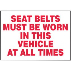 Accuform Signs - LVHR516VSP - Accuform Signs 3 1/2 X 5 Red And White 4 mil Adhesive Vinyl Traffic Safety Label SEAT BELTS MUST BE WORN IN THIS VEHICLE AT ALL TIMES (5 Per Pack), ( Package )