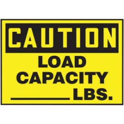 Accuform Signs - LVHR602VSP - Accuform Signs 3 1/2 X 5 Yellow And Black 4 mil Adhesive Vinyl Traffic Safety Label CAUTION LOAD CAPACITY ___ LBS. (5 Per Pack), ( Package )