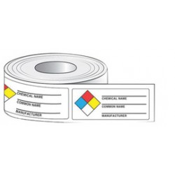Accuform Signs - LZN601PS - Accuform Signs 1 1/2 X 3 7/8 Black And White Adhesive Coated Paper Label CHEMICAL NAME COMMON NAME MANUFACTURER (500 Per Roll), ( Each )