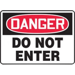 Accuform Signs - MADM139XT - Accuform Signs 10 X 14 Red, Black And White Dura Plastic Admittance And Exit Sign DANGER DO NOT ENTER With 3/16 Corner Mounting Hole And Round Corner, ( Each )