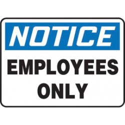 Accuform Signs - MADM403VA - Accuform Signs 14 X 20 Black, Blue And White 0.040 Aluminum Admittance And Exit Sign NOTICE EMPLOYEES ONLY With Round Corner, ( Each )