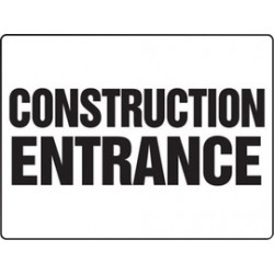 Accuform Signs - MADM500VP - Accuform Signs 18 X 24 Black And White 0.055 Plastic Construction Site BIGSigns CONSTRUCTION ENTRANCE With 3/16 Mounting Hole And Round Corner, ( Each )