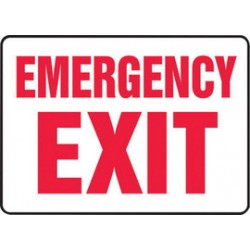 Accuform Signs - MADM510VS - Accuform Signs 10 X 14 Red And White 4 mils Adhesive Vinyl Fire And Emergency Exit Sign EMERGENCY EXIT, ( Each )