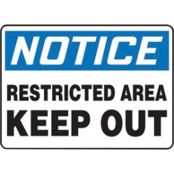 Accuform Signs - MADM867VP - Accuform Signs 7 X 10 Black, Blue And White 0.055 Plastic Admittance And Exit Sign NOTICE RESTRICTED AREA KEEP OUT With 3/16 Mounting Hole And Round Corner, ( Each )
