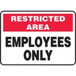 Accuform Signs - MADM964VP - Accuform Signs 10 X 14 Black, Red And White 0.055 Plastic Admittance And Exit Sign RESTRICTED AREA EMPLOYEES ONLY With 3/16 Mounting Hole And Round Corner, ( Each )