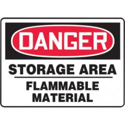 Accuform Signs - MCHG074VA - Accuform Signs 10 X 14 Red, Black And White 0.040 Aluminum Chemicals And Hazardous Materials Sign DANGER STORAGE AREA FLAMMABLE MATERIAL With Round Corner, ( Each )