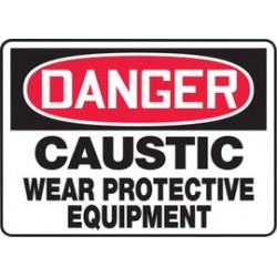 Accuform Signs - MCHL026XT - Accuform Signs 10 X 14 Red, Black And White Dura Plastic PPE Sign DANGER CAUSTIC WEAR PROTECTIVE EQUIPMENT With 3/16 Corner Mounting Hole And Round Corner, ( Each )