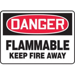 Accuform Signs - MCHL050XV - Accuform Signs 7 X 10 Red, Black And White 6 mils Adhesive Dura Vinyl Chemicals And Hazardous Materials Sign DANGER FLAMMABLE KEEP FIRE AWAY, ( Each )