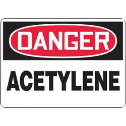 Accuform Signs - MCHL196VP - Accuform Signs 7 X 10 Black, Red And White 0.055 Plastic Chemicals And Hazardous Materials Sign DANGER ACETYLENE With 3/16 Mounting Hole And Round Corner, ( Each )