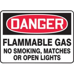 Accuform Signs - MCHL273VA - Accuform Signs 10 X 14 Red, Black And White 0.040 Aluminum Chemicals And Hazardous Materials Sign DANGER FLAMMABLE GAS NO SMOKING, MATCHES OR OPEN LIGHTS With Round Corner