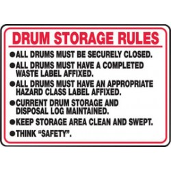 Accuform Signs - MCHL509VA - Accuform Signs 10 X 14 Red, Black And White 0.040 Aluminum Chemicals And Hazardous Materials Sign DRUM STORAGE RULES With Round Corner, ( Each )