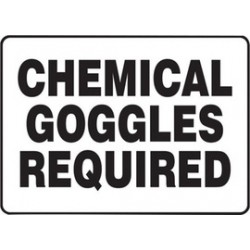 Accuform Signs - MCHL562VA - Accuform Signs 10 X 14 Black And White 0.040 Aluminum PPE Sign CHEMICAL GOGGLES REQUIRED With Round Corner, ( Each )