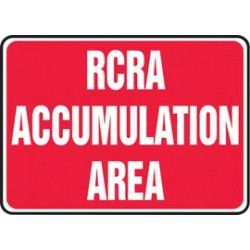 Accuform Signs - MCHL585VP - Accuform Signs 10 X 14 White And Red 0.055 Plastic Chemicals And Hazardous Materials Sign RCRA ACCUMULATION AREA With 3/16 Mounting Hole And Round Corner, ( Each )