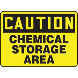 Accuform Signs - MCHL668XT - Accuform Signs 10 X 14 Black And Yellow Dura Plastic Chemicals And Hazardous Materials Sign CAUTION CHEMICAL STORAGE AREA With 3/16 Corner Mounting Hole And Round Corner