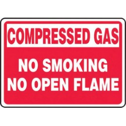 Accuform Signs - MCPG501VS - Accuform Signs 10 X 14 White And Red 4 mils Adhesive Vinyl Chemicals And Hazardous Materials Sign COMPRESSED GAS NO SMOKING NO OPEN FLAME, ( Each )