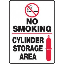 Accuform Signs - MCPG504VS - Accuform Signs 14 X 10 Red, Black And White 4 mils Adhesive Vinyl Chemicals And Hazardous Materials Sign NO SMOKING CYLINDER STORAGE AREA (With Graphic), ( Each )
