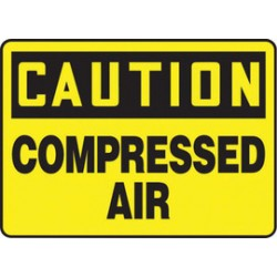 Accuform Signs - MCPG603VS - Accuform Signs 10 X 14 White And Blue 4 mils Adhesive Vinyl Chemicals And Hazardous Materials Sign CAUTION COMPRESSED AIR, ( Each )