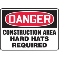 Accuform Signs - MCRT136VA - Accuform Signs 10 X 14 Red, Black And White 0.040 Aluminum Construction Site Sign DANGER CONSTRUCTION AREA HARD HATS REQUIRED With Round Corner, ( Each )