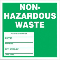 Accuform Signs - MHZW11EVL - Accuform Signs 6 X 6 White And Green Adhesive Vinyl Non-Regulated Waste Label NON-HAZARDOUS WASTE (250 Per Roll), ( Roll )