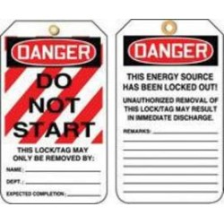 Accuform Signs - MLT403CTP-PK - Accuform Signs 5 7/8 X 3 1/8 10 mils PF-Cardstock Lockout - Tagout Tag DANGER DO NOT START (25 Per Pack), ( Pack of 25 )