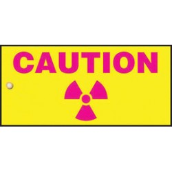 Accuform Signs - MPKHD4 - Accuform Signs 4 X 8 Pink And Yellow Radiation Slide Sign CAUTION (With Graphic), ( Each )