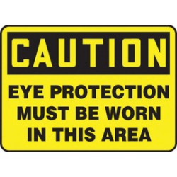 Accuform Signs - MPPA607VP - Accuform Signs 14 X 20 Black And Yellow 0.055 Plastic PPE Sign CAUTION EYE PROTECTION MUST BE WORN IN THIS AREA With 3/16 Mounting Hole And Round Corner, ( Each )