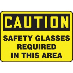 Accuform Signs - MPPA617XT - Accuform Signs 10 X 14 Black And Yellow Dura Plastic PPE Sign CAUTION SAFETY GLASSES REQUIRED IN THIS AREA With 3/16 Corner Mounting Hole And Round Corner, ( Each )