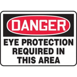Accuform Signs - MPPE010XT - Accuform Signs 10 X 14 Black, Red And White Dura Plastic PPE Sign DANGER EYE PROTECTION REQUIRED IN THIS AREA With 3/16 Corner Mounting Hole And Round Corner, ( Each )