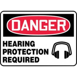 Accuform Signs - MPPE133VS - Accuform Signs 7 X 10 Black, Red And White 4 mils Adhesive Vinyl PPE Sign DANGER HEARING PROTECTION REQUIRED (With Graphic), ( Each )