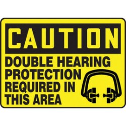 Accuform Signs - MPPE446VS - Accuform Signs 7 X 10 Black And White 4 mils Adhesive Vinyl PPE Sign CAUTION DOUBLE HEARING PROTECTION REQUIRED IN THIS AREA (With Graphic), ( Each )