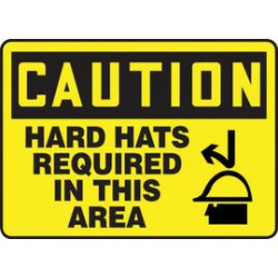 Accuform Signs - MPPE700VA - Accuform Signs 10 X 14 Black And Yellow 0.040 Aluminum PPE Sign CAUTION HARD HATS REQUIRED IN THIS AREA (With Graphic) With Round Corner, ( Each )