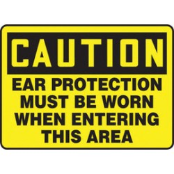 Accuform Signs - Mppe710vs - Accuform Signs 10 X 14 Black And Yellow 4 Mils Adhesive Vinyl Ppe Sign Caution Ear Protection Must Be Worn When Entering This Area, ( Each )