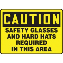 Accuform Signs - MPPE723XT - Accuform Signs 10 X 14 Black And Yellow Dura Plastic PPE Sign CAUTION SAFETY GLASSES AND HARD HATS REQUIRED IN THIS AREA With 3/16 Corner Mounting Hole And Round Corner