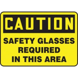 Accuform Signs - MPPE794XT - Accuform Signs 7 X 10 Black And Yellow Dura Plastic PPE Sign CAUTION SAFETY GLASSES REQUIRED IN THIS AREA With 3/16 Corner Mounting Hole And Round Corner, ( Each )