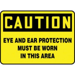 Accuform Signs - MPPE797XT - Accuform Signs 7 X 10 Black And Yellow Dura Plastic PPE Sign CAUTION EYE AND EAR PROTECTION MUST BE WORN IN THIS AREA With 3/16 Corner Mounting Hole And Round Corner