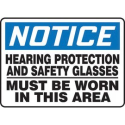 Accuform Signs - Mppe804va - Accuform Signs 10 X 14 Black, Blue And White 0.040 Aluminum Ppe Sign Notice Hearing Protection And Safety Glasses Must Be Worn In This Area With Round Corner, ( Each )