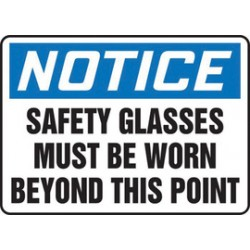 Accuform Signs - MPPE809VS - Accuform Signs 10 X 14 Black, Blue And White 4 mils Adhesive Vinyl PPE Sign NOTICE SAFETY GLASSES MUST BE WORN BEYOND THIS POINT, ( Each )