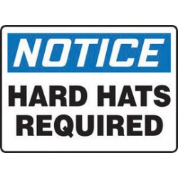 Accuform Signs - MPPE824XT - Accuform Signs 10 X 14 Black, Blue And White Dura Plastic PPE Sign NOTICE HARD HATS REQUIRED With 3/16 Corner Mounting Hole And Round Corner, ( Each )