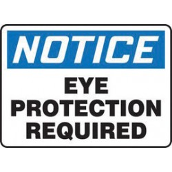 Accuform Signs - MPPE825XT - Accuform Signs 10 X 14 Black, Blue And White Dura Plastic PPE Sign NOTICE EYE PROTECTION REQUIRED With 3/16 Corner Mounting Hole And Round Corner, ( Each )