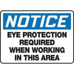 Accuform Signs - Mppe827vs - Accuform Signs 10 X 14 Black, Blue And White 4 Mils Adhesive Vinyl Ppe Sign Notice Eye Protection Required When Working In This Area, ( Each )