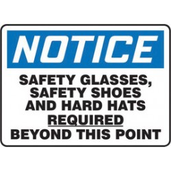 Accuform Signs - Mppe829vs - Accuform Signs 10 X 14 Black, Blue And White 4 Mils Adhesive Vinyl Ppe Sign Notice Safety Glasses, Safety Shoes And Hard Hats Required Beyond This Point, ( Each )