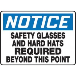 Accuform Signs - Mppe835vs - Accuform Signs 10 X 14 Black, Blue And White 4 Mils Adhesive Vinyl Ppe Sign Notice Safety Glasses And Safety Shoes Required In This Area, ( Each )