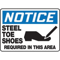 Accuform Signs - MPPE841VA - Accuform Signs 10 X 14 Black, Blue And White 0.040 Aluminum PPE Sign NOTICE STEEL TOE SHOES REQUIRED IN THIS AREA (With Graphic) With Round Corner, ( Each )