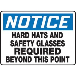 Accuform Signs - Mppe845va - Accuform Signs 10 X 14 Black, Blue And White 0.040 Aluminum Ppe Sign Notice Hard Hats And Safety Glasses Required Beyond This Point With Round Corner, ( Each )