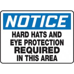 Accuform Signs - MPPE847VA - Accuform Signs 10 X 14 Black, Blue And White 0.040 Aluminum PPE Sign NOTICE HARD HATS AND EYE PROTECTION REQUIRED IN THIS AREA With Round Corner, ( Each )