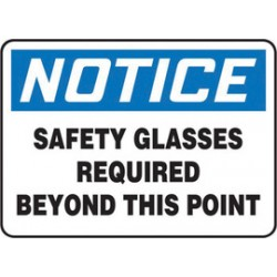 Accuform Signs - MPPE849XV - Accuform Signs 7 X 10 Black, Blue And White 6 mils Adhesive Dura Vinyl PPE Sign NOTICE SAFETY GLASSES REQUIRED BEYOND THIS POINT, ( Each )